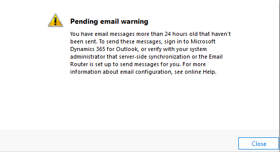 Pending Email Warning